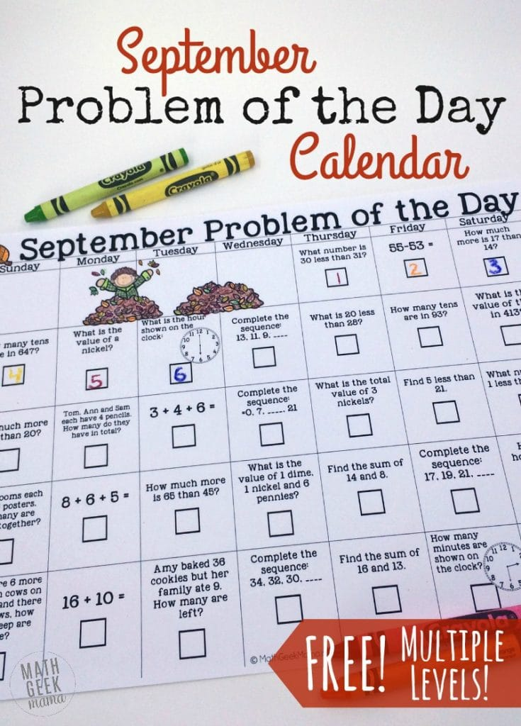 FREE Math Calendar of the Day