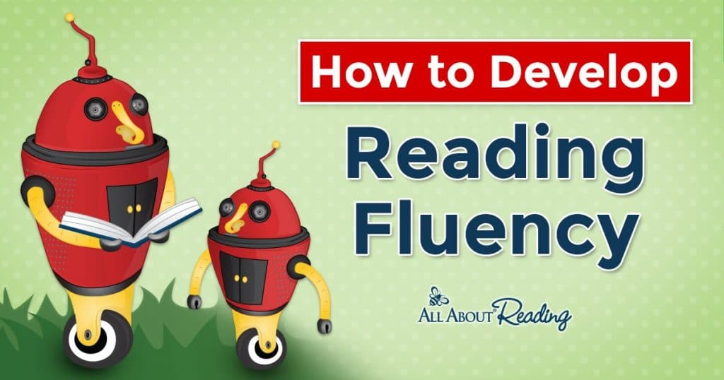 "cartoon robots reading with overlay - ""How to Develop Reading Fluency"""