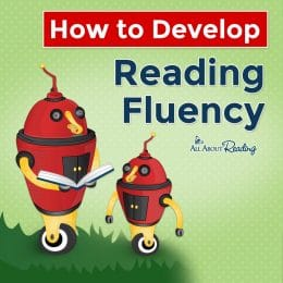 """cartoon robots reading with overlay - """"How to Develop Reading Fluency"""""""