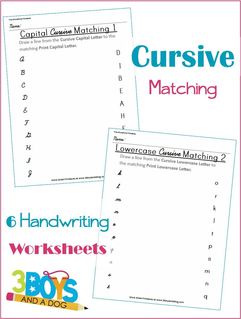 FREE Cursive Matching Worksheets