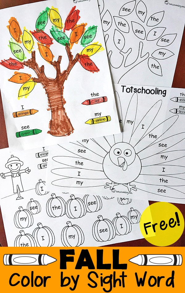FREE Fall Sight Words Pack