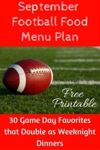 FREE Football Menu Plan