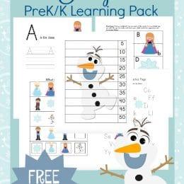 FREE Frozen PreK Learning Printables