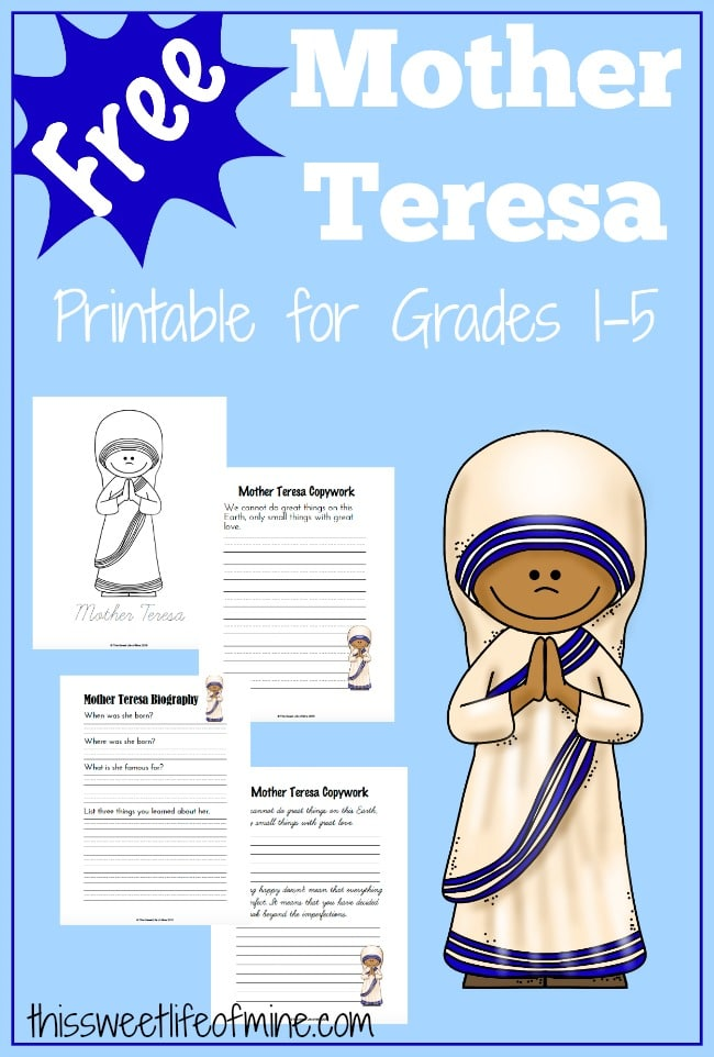 FREE Mother Teresa Printables