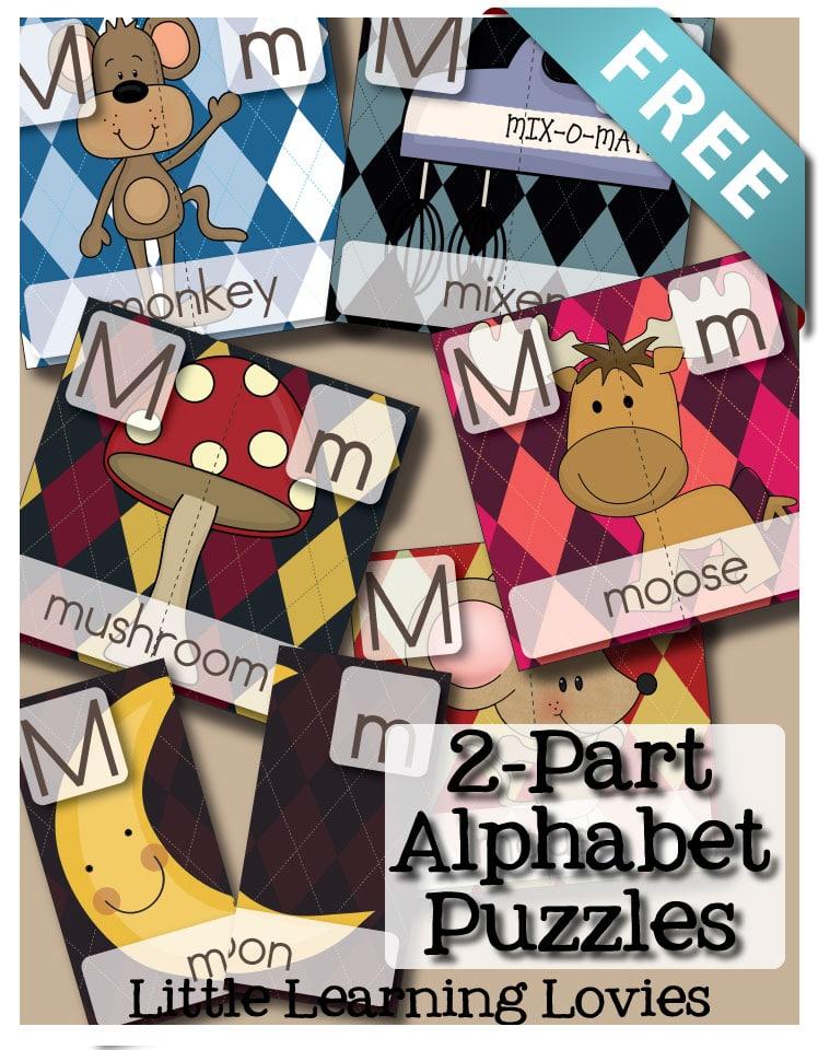 FREE 2 Part Alphabet Puzzles