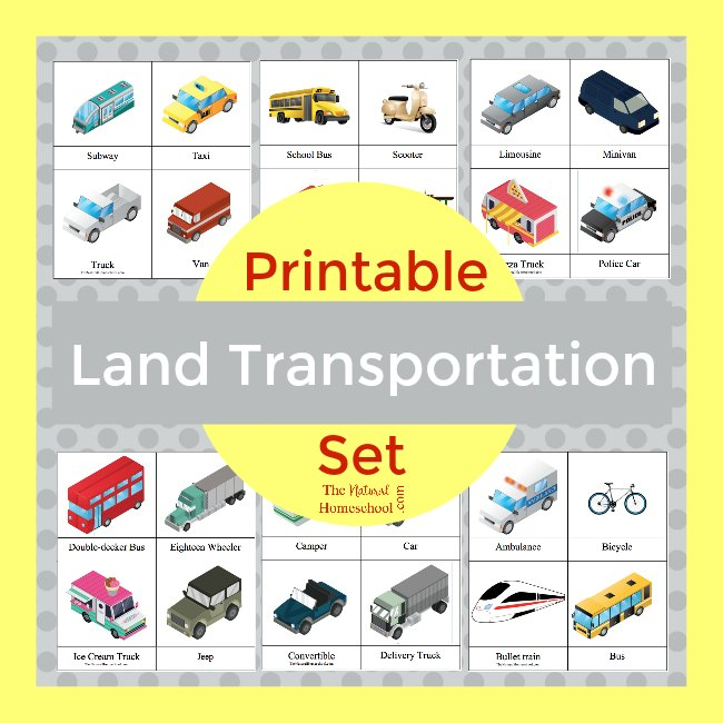 FREE 3 Part Printable Transportation Cards