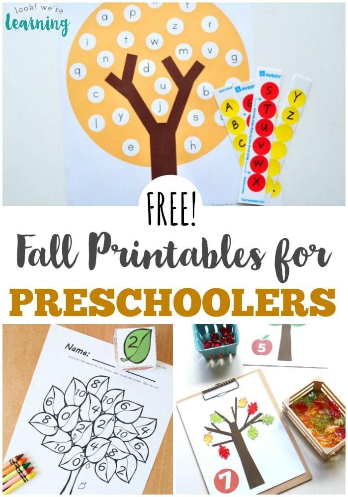 FREE Fall Printables for PreK