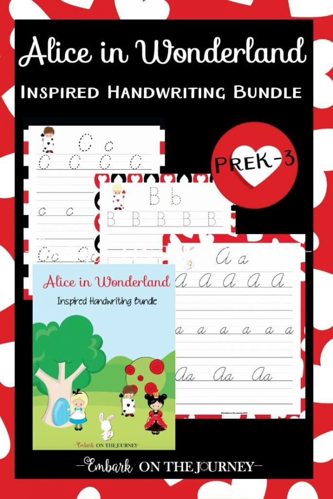 FREE Alice in Wonderland Handwriting Printables