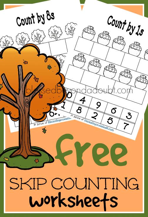 FREE Fall Skip Counting Worksheets
