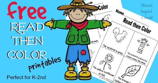 FREE Fall Color and Read Worksheets