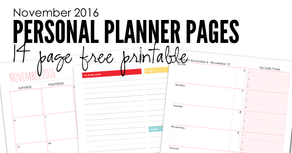 FREE Personal Planner Pages