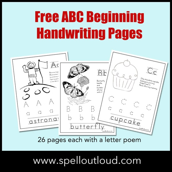 FREE ABC Beginning Handwriting Pages