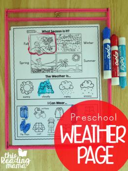 FREE Preschool Weather Page