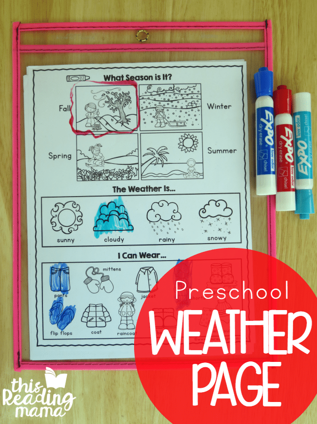 FREE Preschool Weather Page