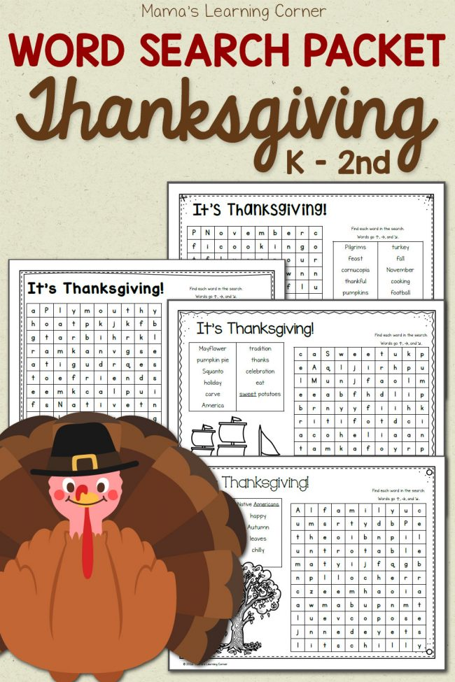 FREE Thanksgiving Word Search Pack