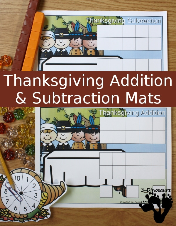 Free Thanksgiving Addition & Substraction Mats