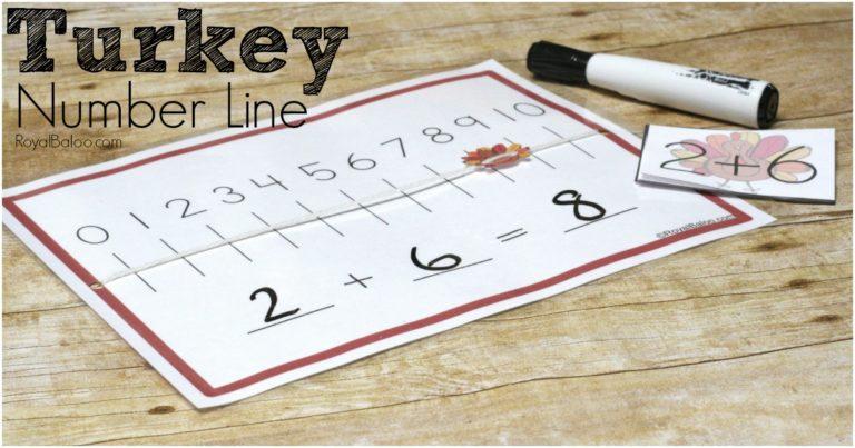 Free Turkey Number Line Activity