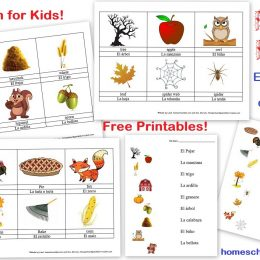 Free Spanish Words Worksheets (Colors & Fall)