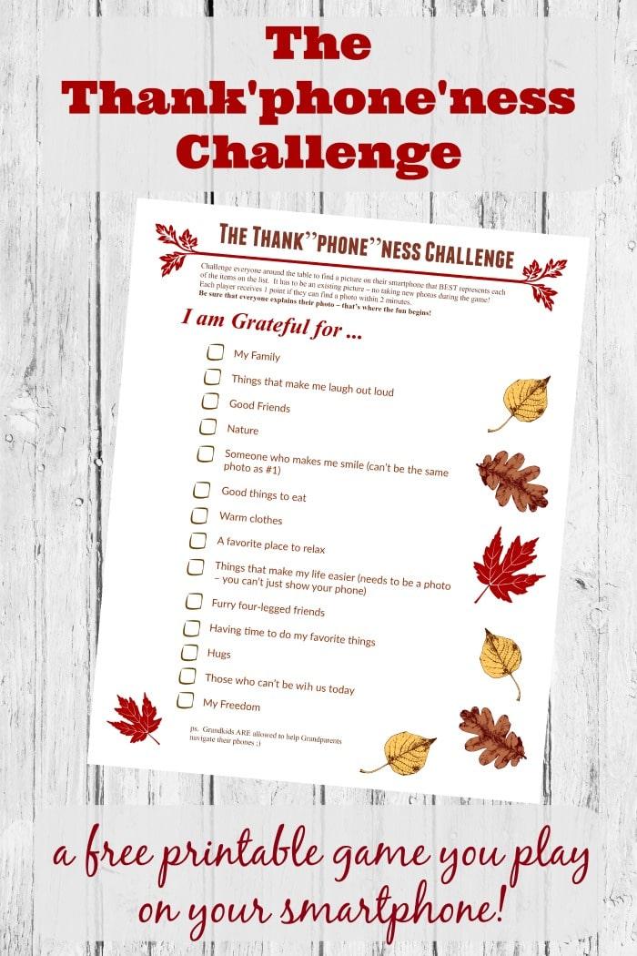 Free Thanksgiving Photo Gratitude Hunt