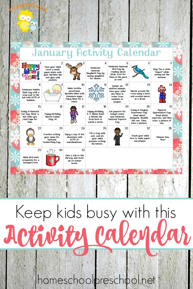 Free January Preschool Activity Calendar