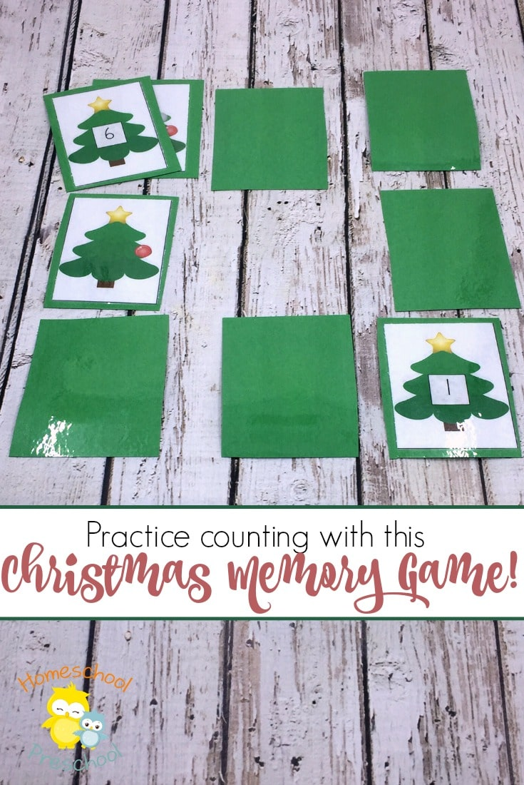 Free Christmas Counting Memory Game