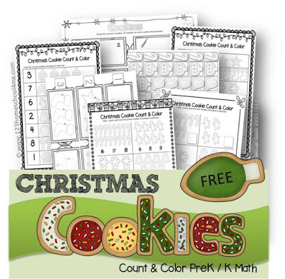 Free Christmas Cookie Count & Color Worksheets