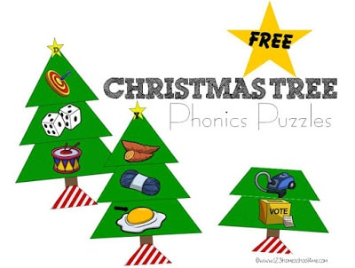 Free Christmas Tree Phonics Puzzles