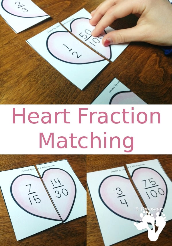 Free Heart Fraction Matching Printables