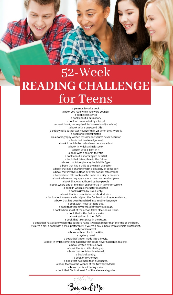 Free Teen Reading Challenge Checklist