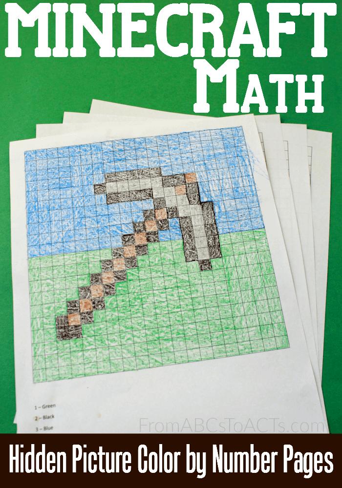 Free Minecraft Hidden Picture Math Printables