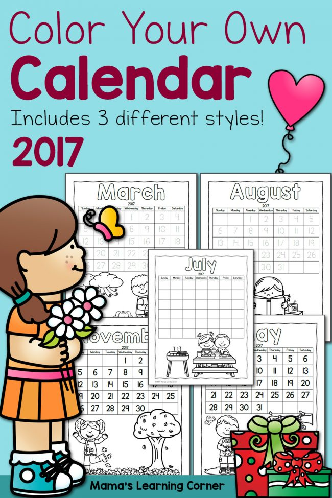 Free Color Your Own 2017 Calendar