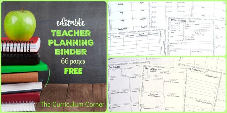 Free Editable Teacher Planning Binder