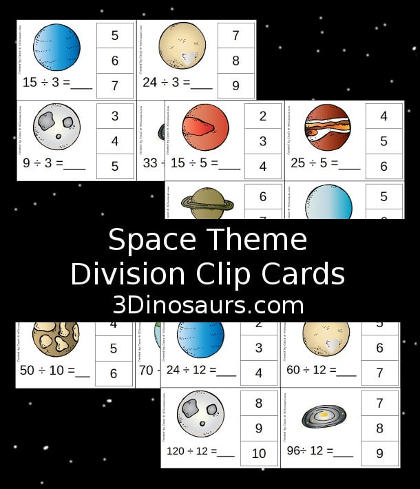 Free Space Theme Division Clip Cards