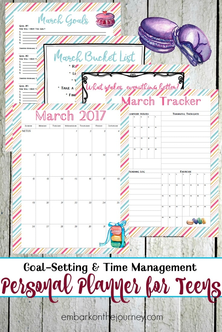Free March Personal Planning Pages for Teens