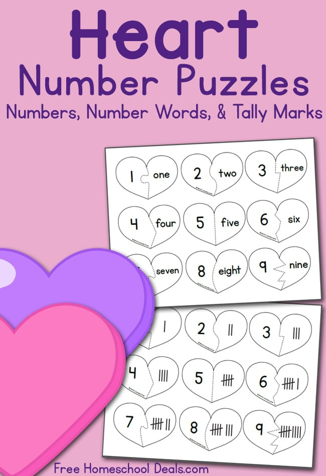 Free Heart Number Puzzles