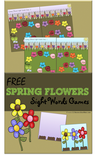 Free Spring Flowers Sight Words Game