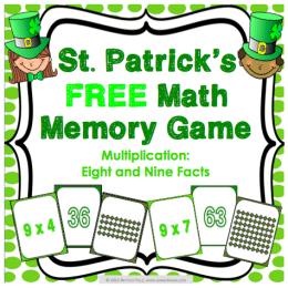 Free St. Patrick's Day Math Memory Game