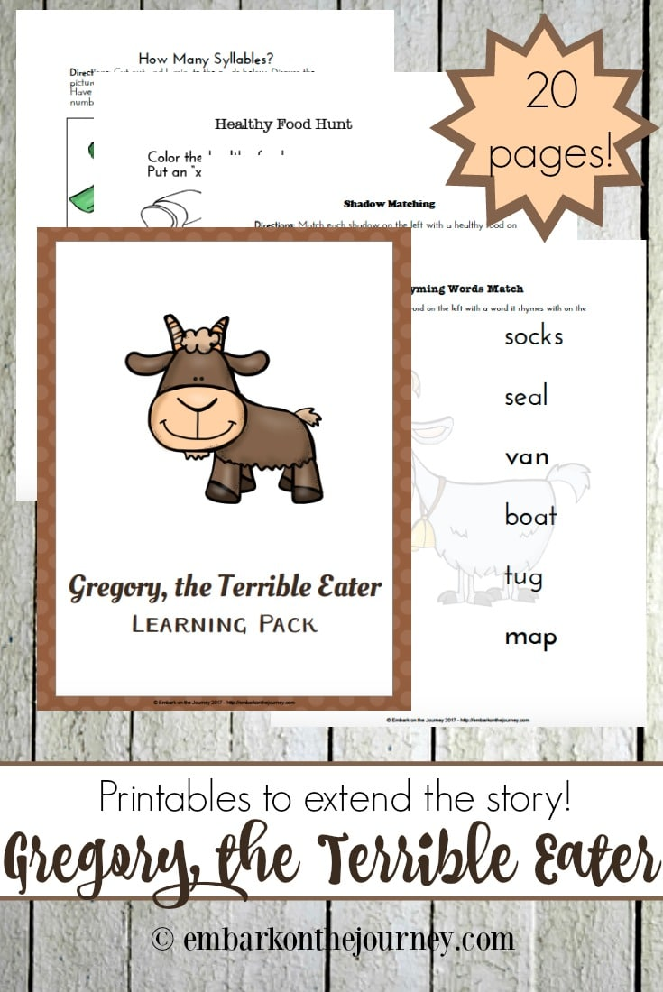 Free Gregory the Terrible Eater Printables
