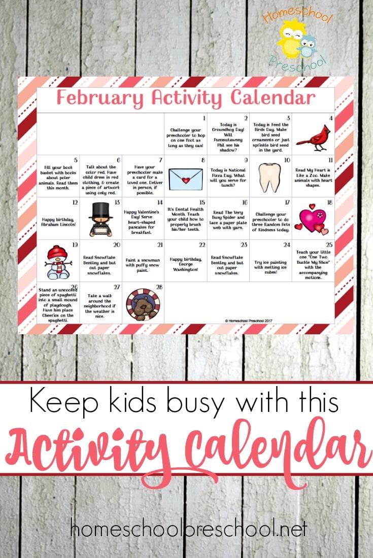 Free February Preschool Activity Calendar