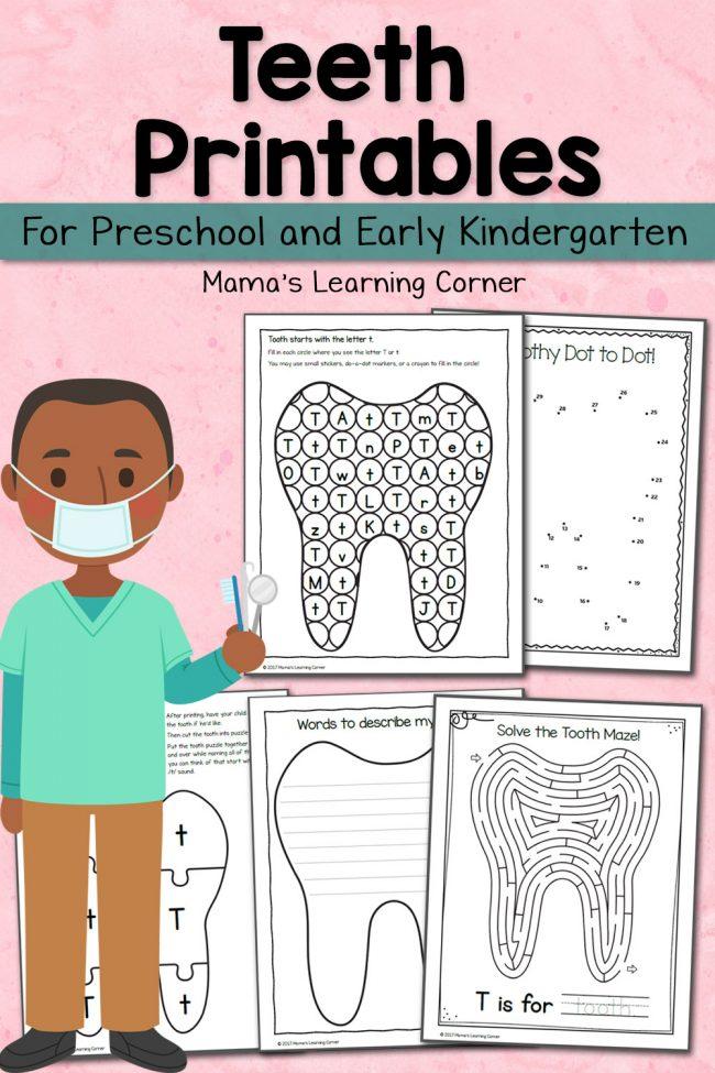 Free Teeth Printables for Preschool and Kindergarten