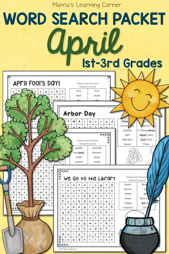 Free April Word Search Packet