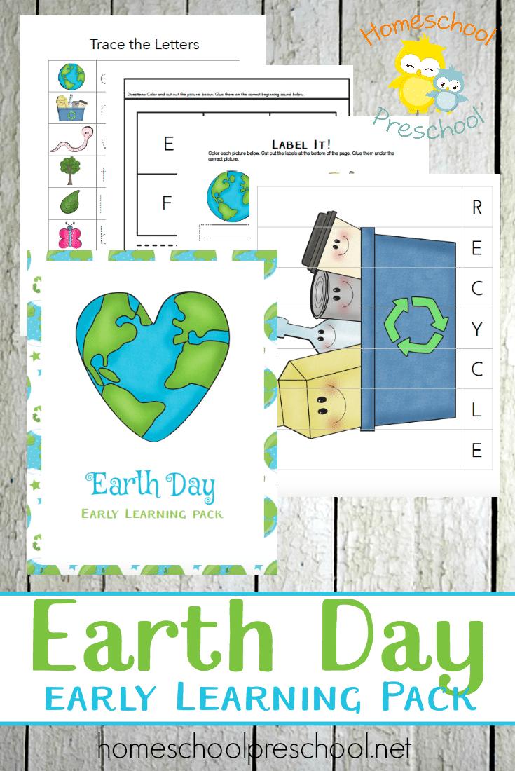 Free Earth Day Preschool Learning Pack