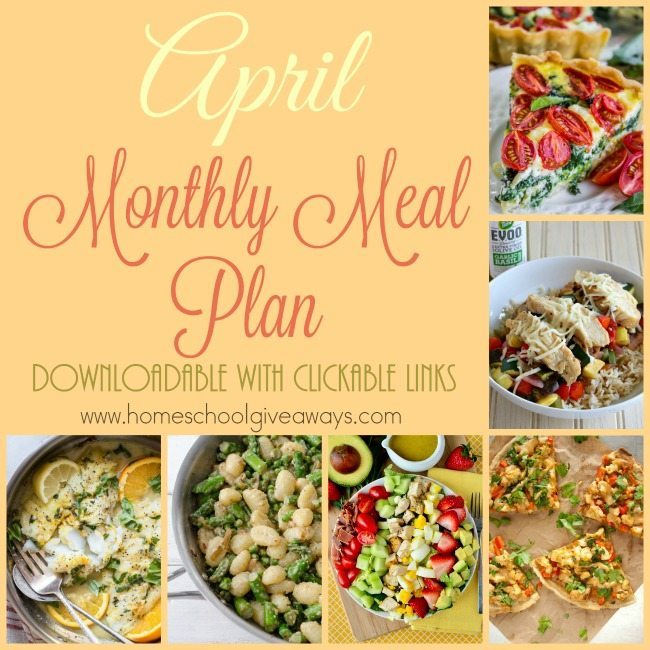 Free April Meal Plan with Clickable Links