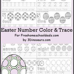 Free Easter Egg Number Color & Trace Printables