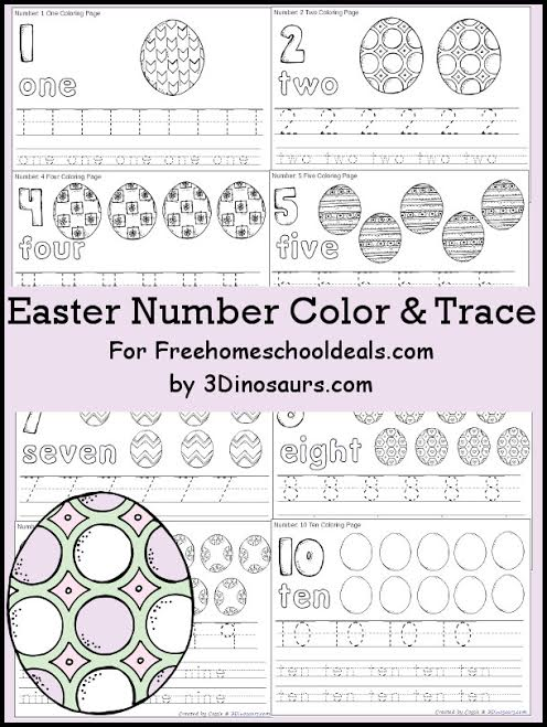 Free Easter Egg Number Color & Trace Printables