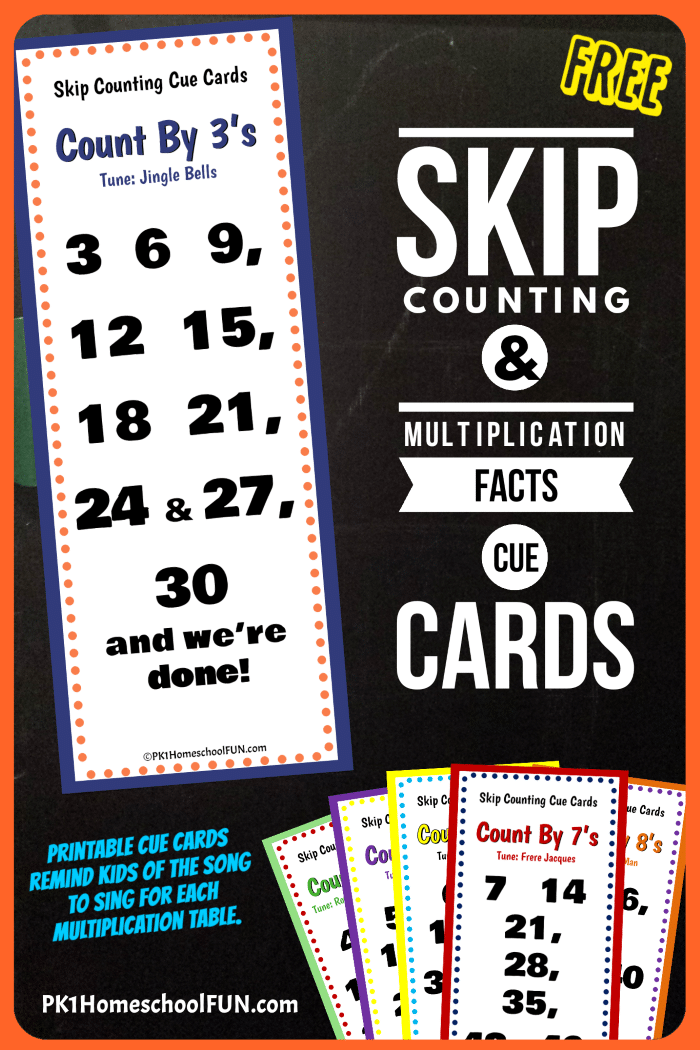 Free Math Cue Cards for Skip Counting & Multiplication