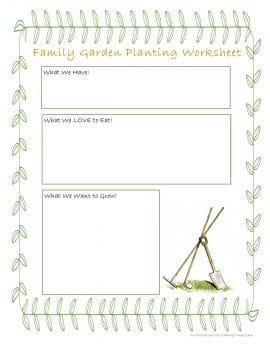 Free Family Gardening Planting Worksheet