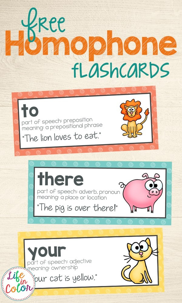 Free Homophone Flashcards