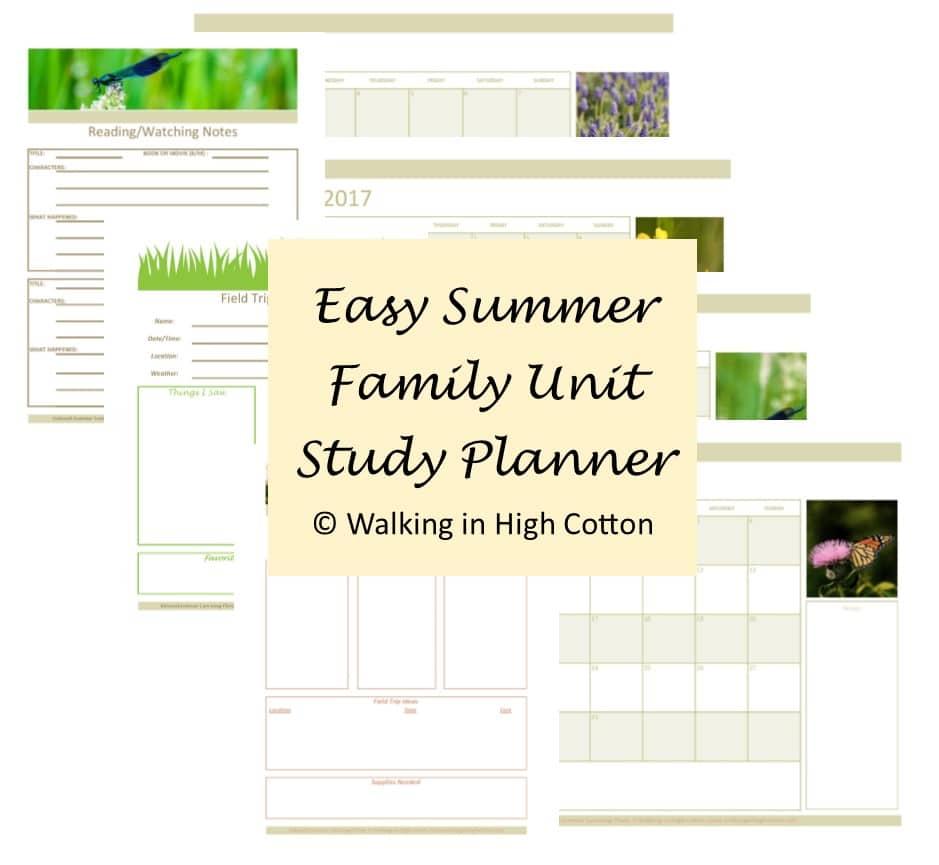 Free Summer Unit Study Planner