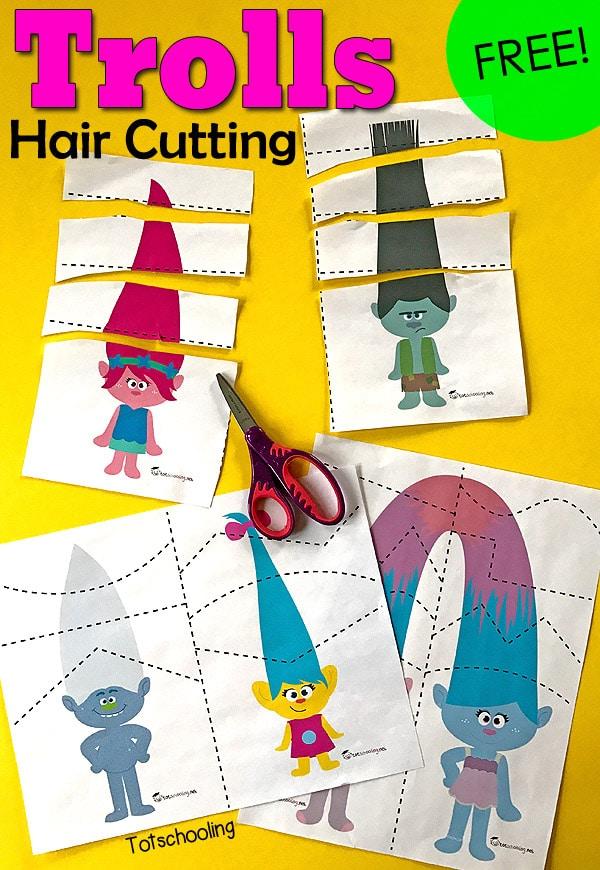 Free Trolls Hair Cutting Scissor Practice Printables